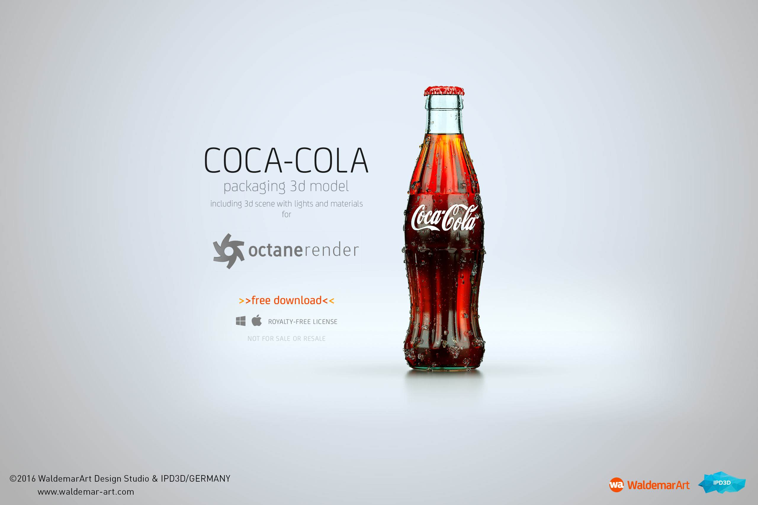 free packaging 3d model and scene of coca