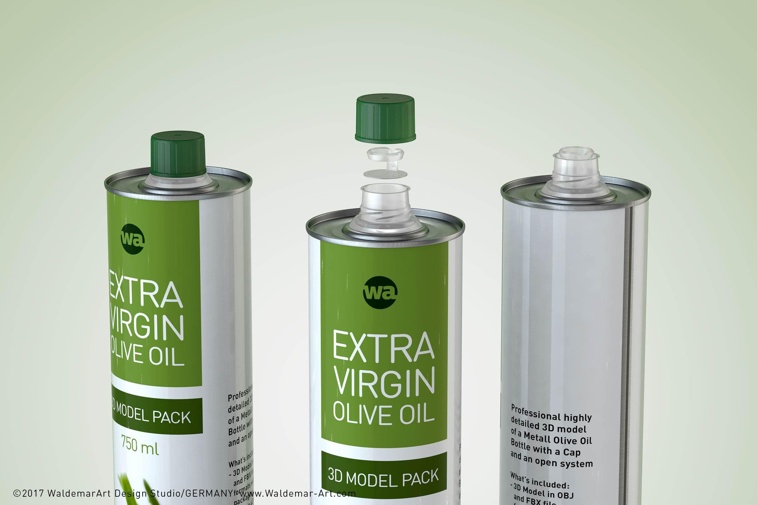 olive oil metal bottle 750ml packaging 3d model    wa