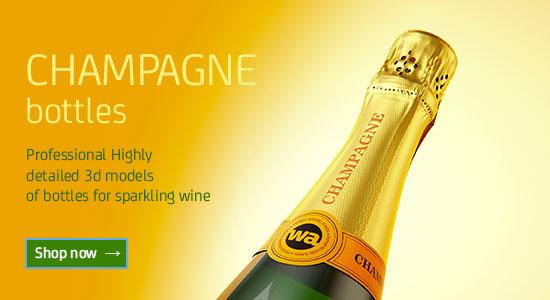 Champagne bottle 3D models for Download