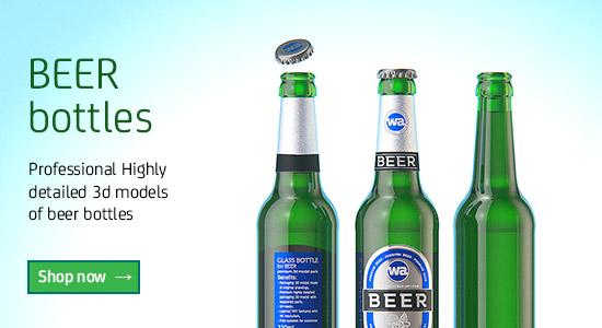 3D models of different Beer bottles for Download