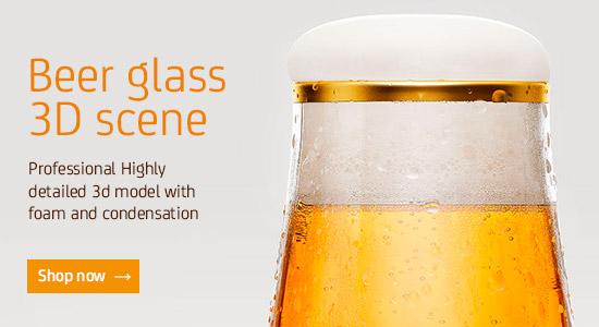 Premium Beer Glass scene for Vray (Cinema 4D)