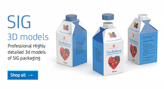 Professional Highly detailed 3D models of SIG packaging