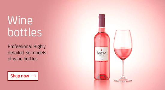 Wine bottles 3D models for Download