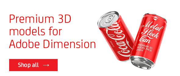 Premium packaging 3D models for Adobe Dimension CC
