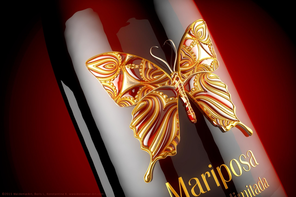 Premium Red Wine Mariposa - Butterfly 3D Model - Render