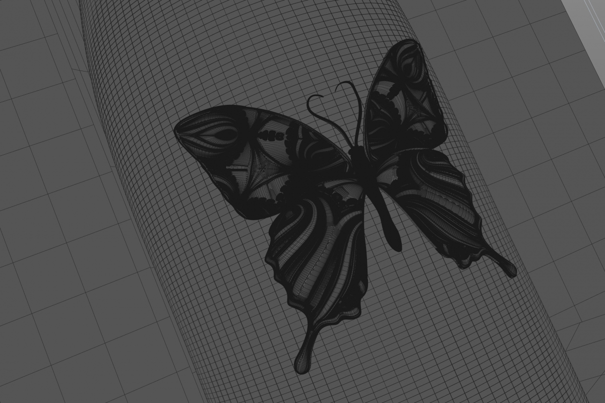 Premium Red Wine Mariposa - Butterfly 3D Model