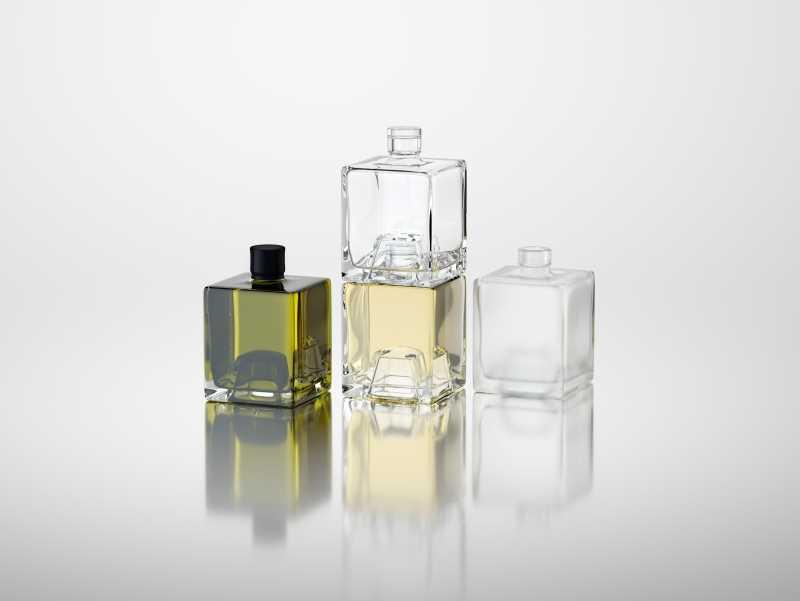 Cubique - packaging 3D model of glass Bottles