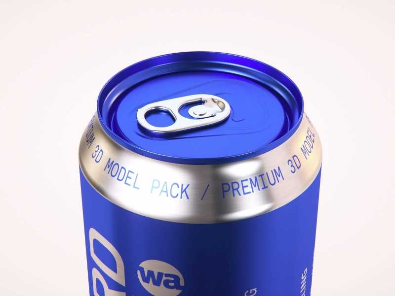 6x (six) Shrink Wrap packaging 3D model pack of Soda Can 568ml