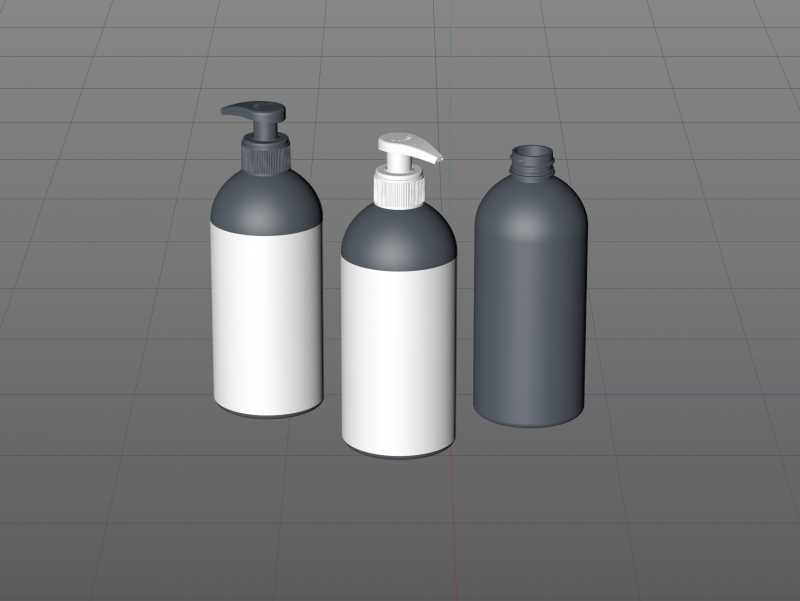 Anticeptic Gel Plastic Bottle 500ml (rounded egdes) packaging 3D model