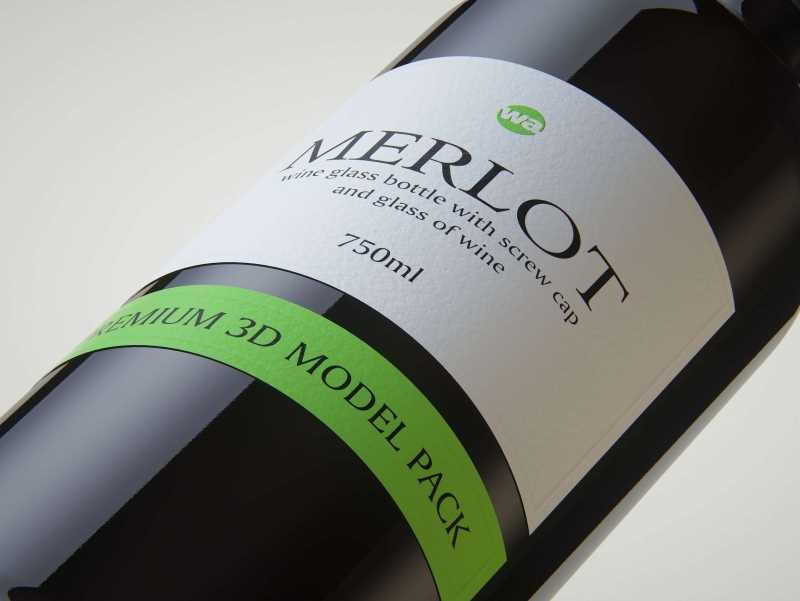 3D model of the Merlot Wine Standard Bottle 750ml with screw cap and glass of wine