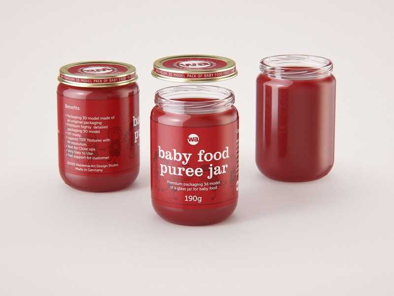Baby Food Fruit Puree Glass Jar 3D model 190g