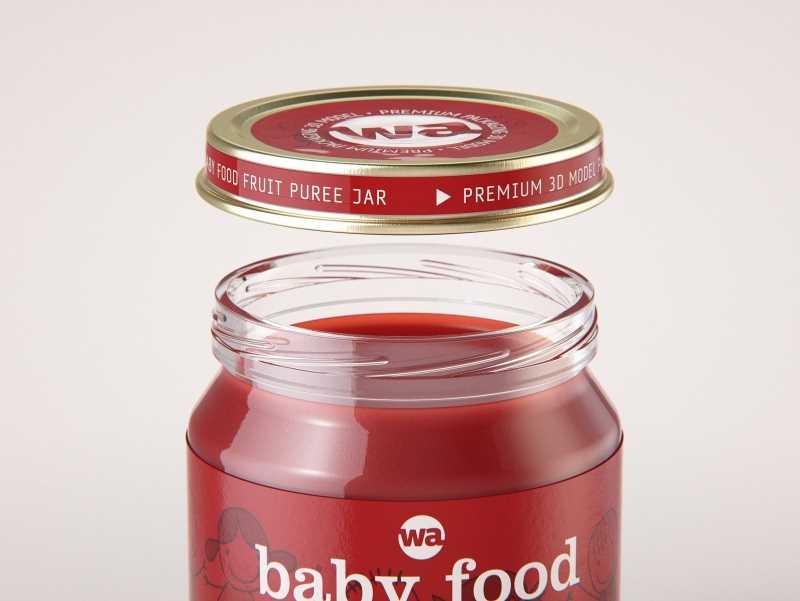 Packaging 3D model of Baby Food Glass Jar 200g