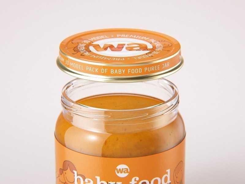 Baby food puree glass jar 250g wide packaging 3d model