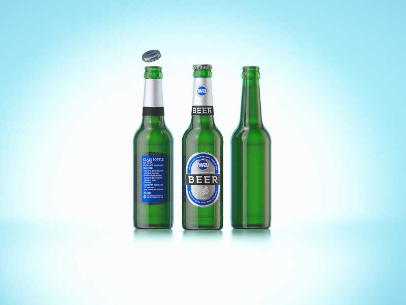 3D model of the Beer Green glass bottle 330ml with Crown cork, foil and label