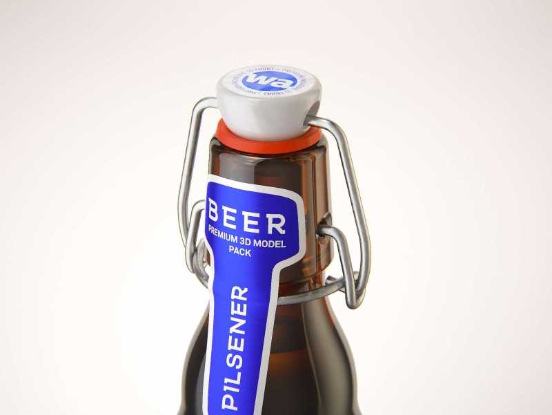 Beer glass bottle 330ml 3d model with Swing Top closure