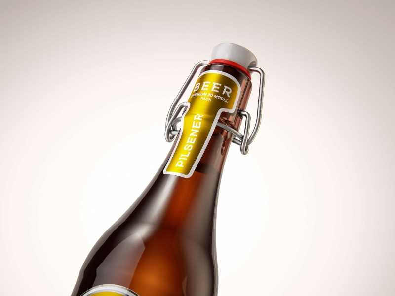 Beer glass bottle 500ml 3d model with Swing Top closure