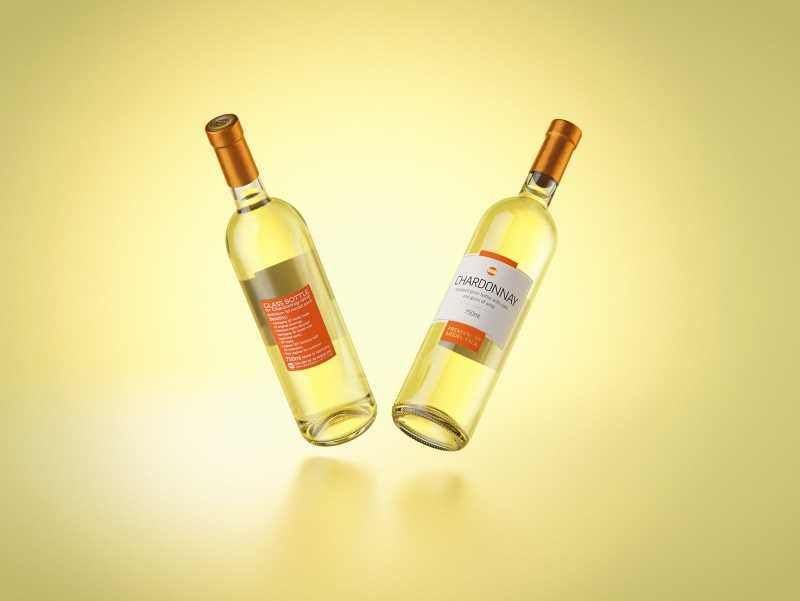 3D model of a Chardonnay glass bottle 750ml with cork
