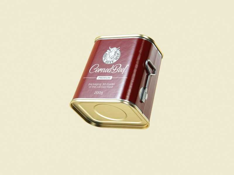 Corned Beef metal cans 200g (2 set) with the key packaging 3d model