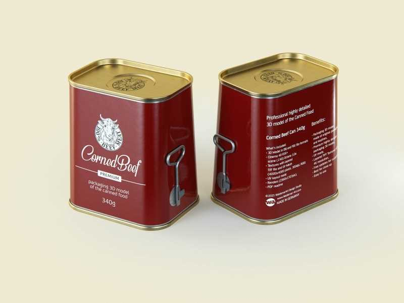 Corned Beef metal cans 340g (2 set) with the key packaging 3d model