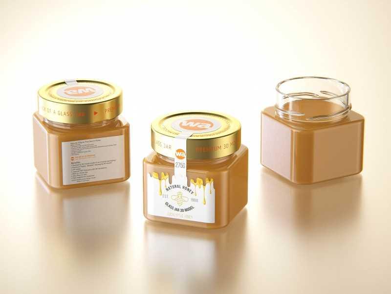 Eucalyptus Honey Glass Jar 275g packaging 3d model