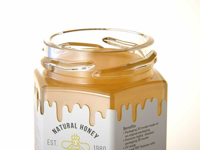 German Honey Glass Jar 50g packaging 3d model