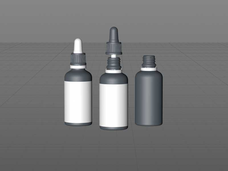 Glass bottle of Flavoring Drops 50ml with pipette 3D model pack