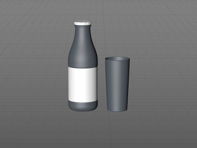 Milk Glass bottle 1000ml packaging 3D model with a screw cap and a glass of milk