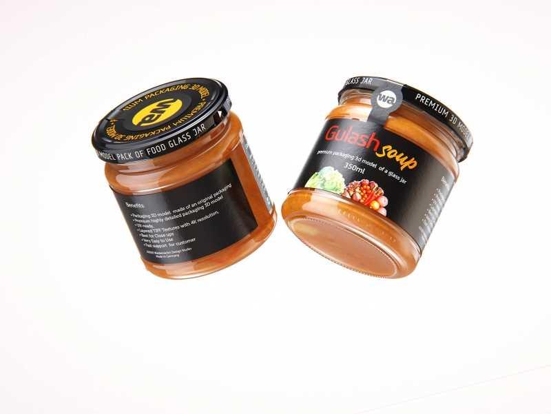 Gulash Soup Glass Jar 350ml packaging 3d model