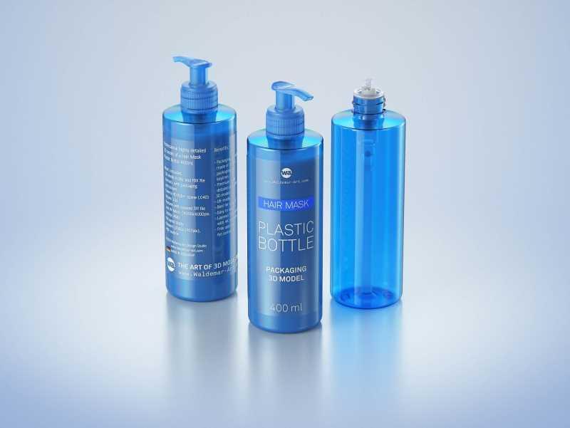 Hair Mask/Cream Plastic Bottle 400ml packaging 3d model