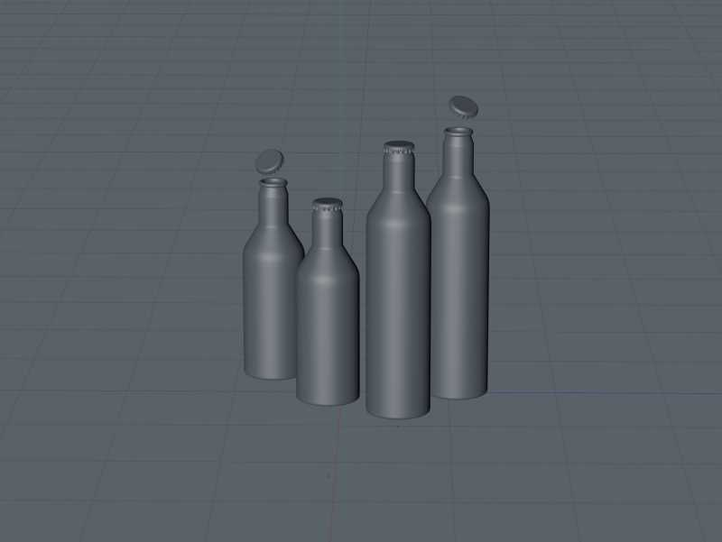 Impact Ball/Rexam metal bottles (short neck) 330 and 500ml packaging 3d model pack