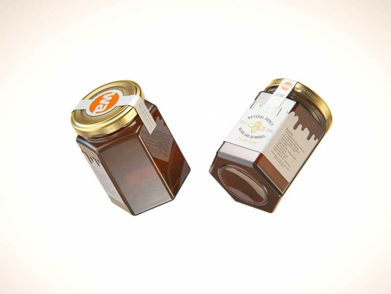Italian Honey Glass Jar 225ml packaging 3d model