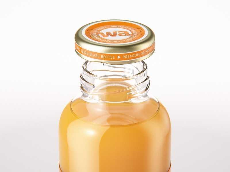 Packaging 3D model of Baby Food Juice Glass Bottle 330ml