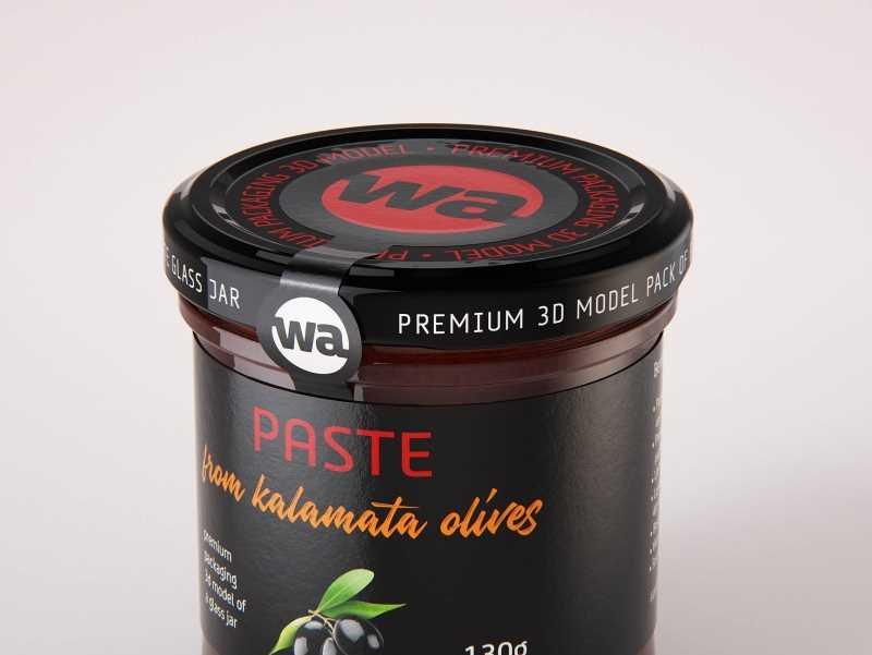 Kalamata Olive Spread (Paste) 130g glass jar packaging 3d model
