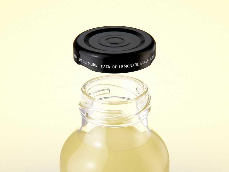 Packaging 3D model of Bio Lemonade Glass Bottle 330ml