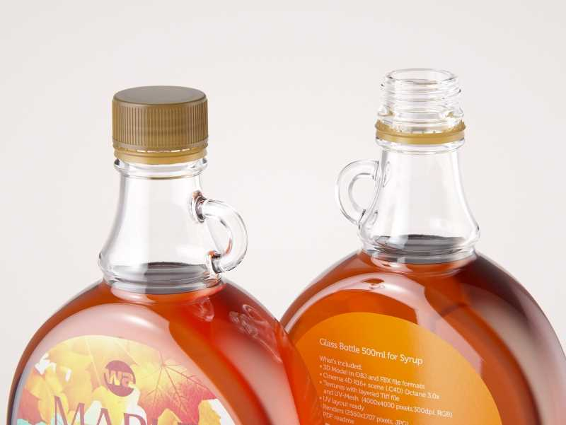 Maple Syrup Patterned Glass bottle 500ml 3D model pack