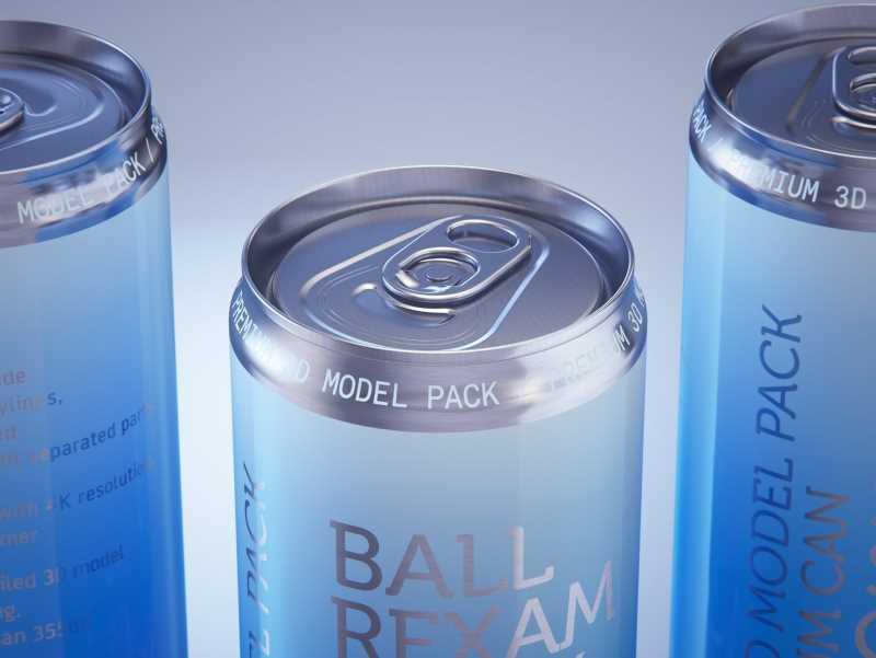 Ball/Rexam Metal Sleek Can 355ml Premium 3D model pack