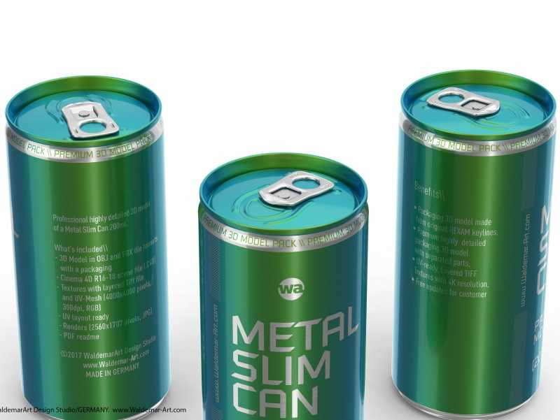 3D packaging model of (Rexam) Metal Slim Can 200ml