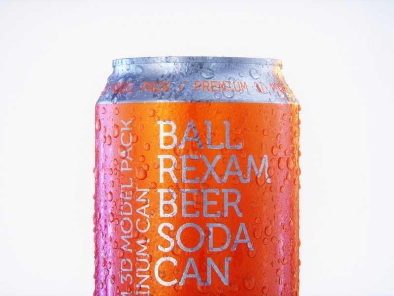 Metal Beer/Soda can 330ml with water droplets and condensation professional 3D model pack