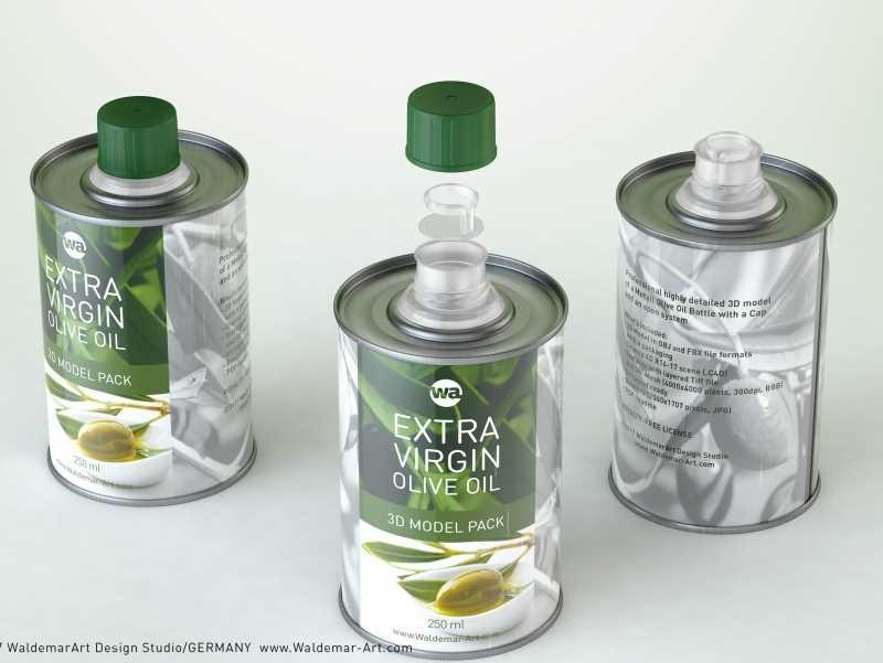 Olive oil metal bottle 250ml packaging 3d model
