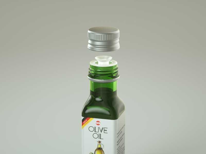 Square glass bottle 100ml for Olive oil 3D model pack