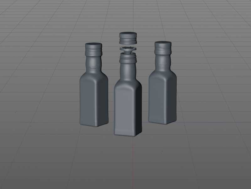 Olive oil square glass bottle 150ml Premium 3D model pack