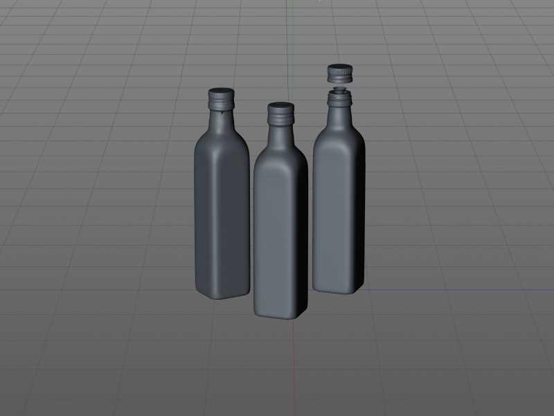 Premium packaging 3D model of the Olive Oil Square Glass Bottle 500ml
