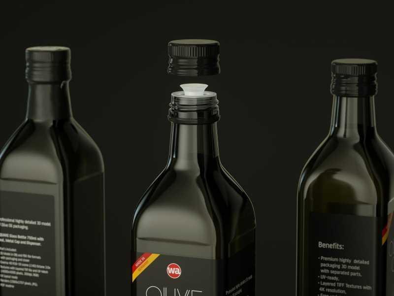 Premium packaging 3D model of the Olive Oil Square Glass Bottle 750ml