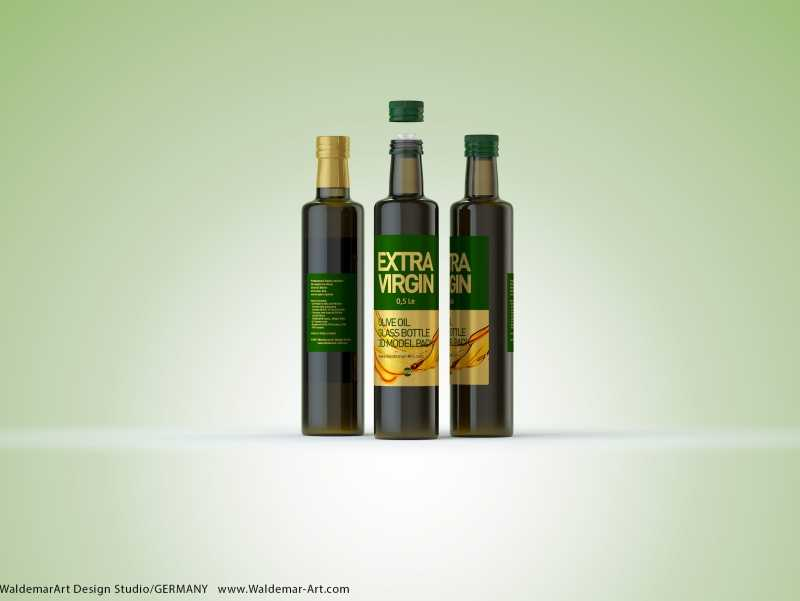 Olive Oil Glass Bottle 500ml packaging 3d model