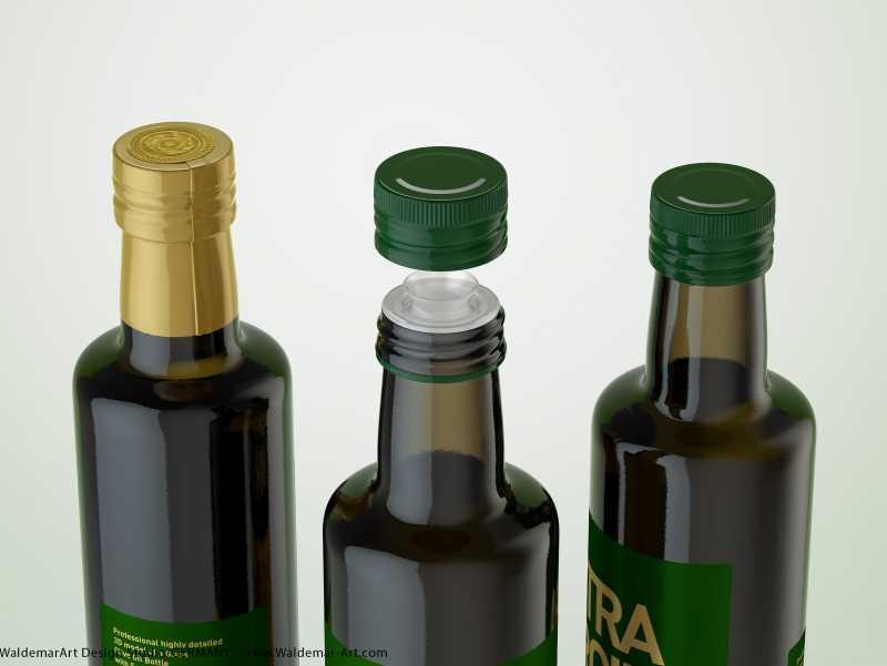 Olive Oil Glass Bottle 500ml packaging 3d model