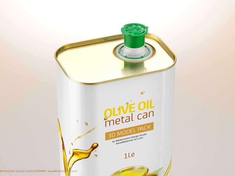 Olive oil Metal Can 1000ml Packaging 3D model