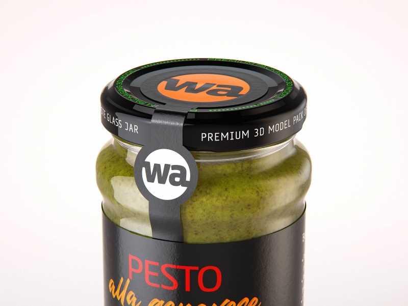 Pesto alla genovese 190g glass jar packaging 3d model