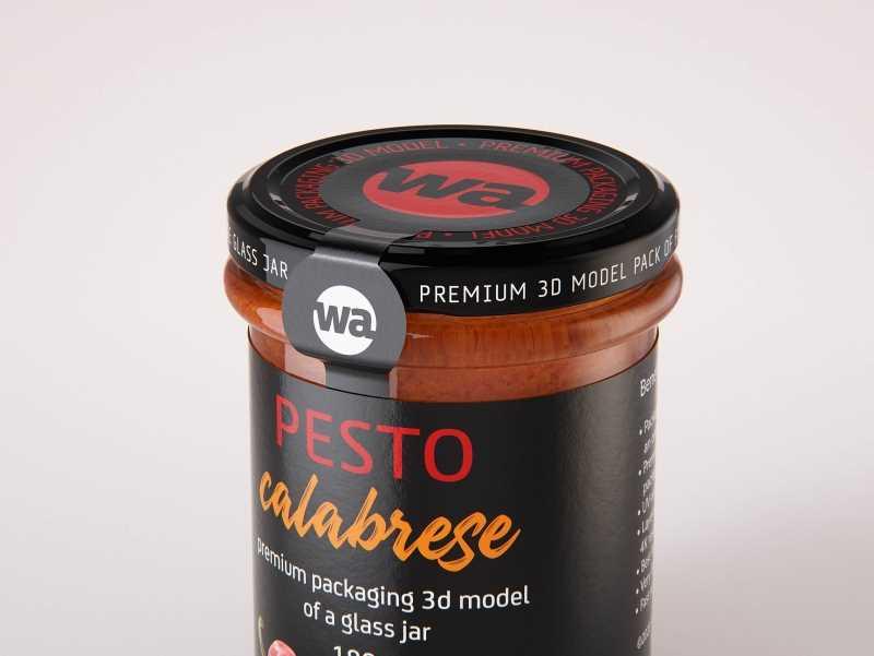 Pesto Calabrese glass jar 180g packaging 3d model