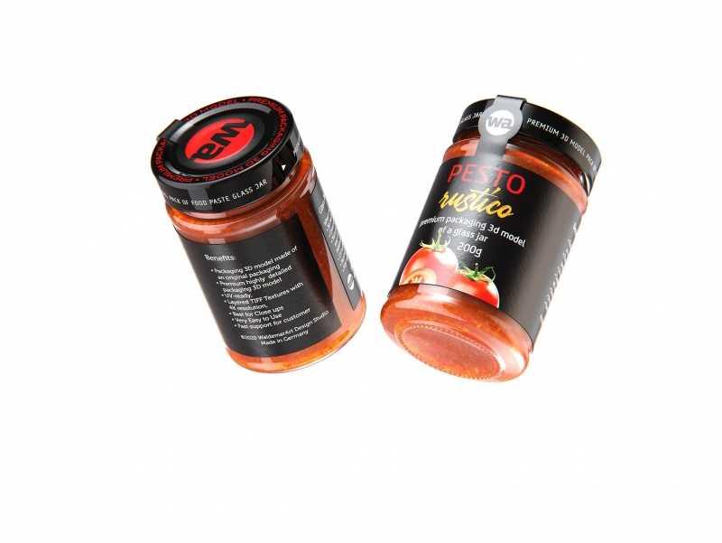 Pesto Rustico Glass Jar 200g packaging 3d model