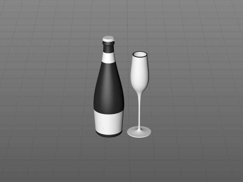 Prosecco (Frizzante) glass bottle 3D model 750ml with Crown cork and glass of fruit wine